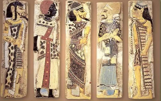 Foreigners from Ramesses III Temple at Medinet Habu, depicted almost in the style of Egyptian women