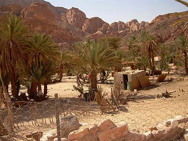 Most of the activity takes place outside of the simple Bedouin house