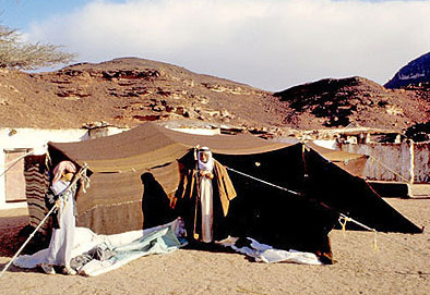 Sheikh Barakat before his camel-hair tent