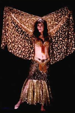 A typical professional belly dancing costume worn by Daleela