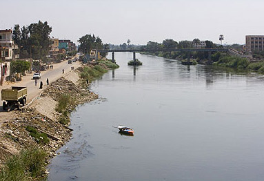 A view up the Nile at Benha, Egypt