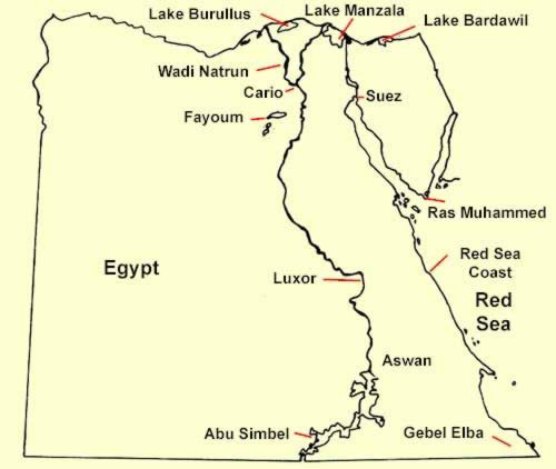 Major Birding Areas in Egypt