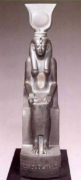 Though rendered in human form throughout much of ancient Egyptian History, Isis, along with Hathor, never lost her horns