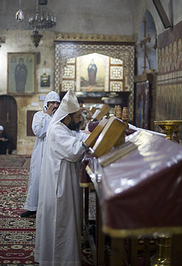 Monks perform services in the main church, dedicated to Saint Bishoy, in the Monastery of Saint Bishoy