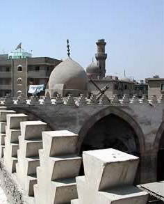 ome of the Asunqur  Mosque from the roof and seen behind is the minaret of Umm al-Sultan  Shaaban with the missing top