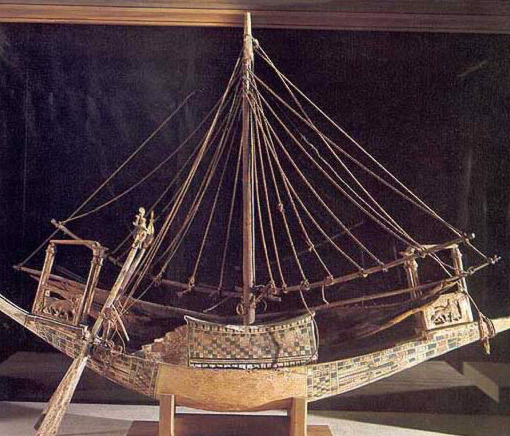 Model Boat with Rigging