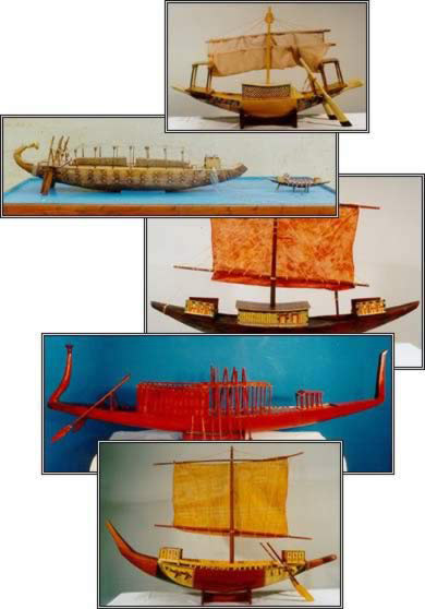 A Few of the Egyptian Ship Replicas in our Boats Exhibit