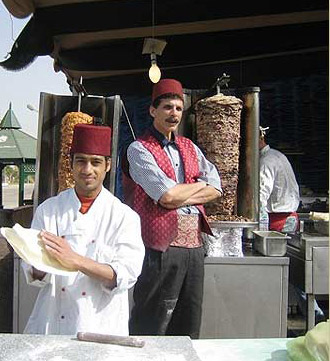 One of the Cafes set up at the Book Fair (Making the famous Shawerma)