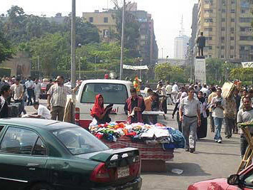 The busy bookseller's market in Cairo