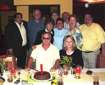 Some of the Tour Egypt Staff celebrate the birthday of Darrell Young, a Tour Egypt Director at the Hotel Longchamps' restaurant
