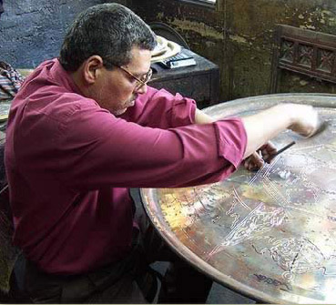 Carving a very large brass plate by hand