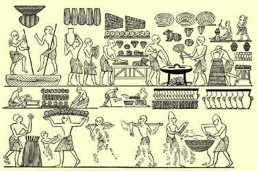 The court bakery of   Ramesses III, with various forms of bread, including some shaped like   animals, from the tomb of Ramesses III in the Valley of the Kings on the   West Bank at Thebes