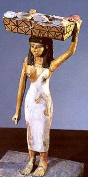 A woman carrying a basket   of bread and pieces of meat - a painted wood statuette from the Middle   Kingdom