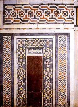 Detail of the marble decorations in the interior of the mosque