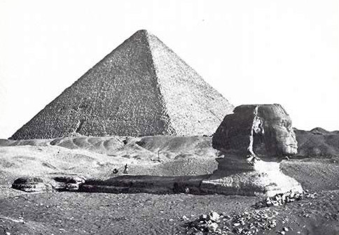 The Sphinx, Still Buried in 1856, and the Great Pyramid