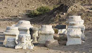 A cluster of column capitals and bases, mostly Greek and Roman, at Buto