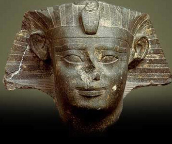 Head of a Sphinx of Senusret I made of gray granite from the Courtyard of teh Cachette in the Temple of Amun at Karnak