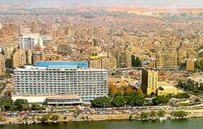 A view of the Nile Hilton in Cairo