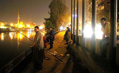 Fishing along the bank of the Nile on Zamalek in Cairo