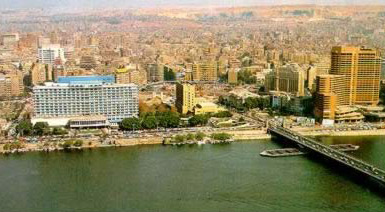 View of the Nile Hotel in downtown Cairo