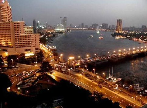 Cairo At Night Along the Nile