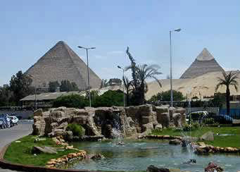 View of Pyramids from the Mena House Hotel