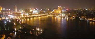 View of Cairo, Egypt at night