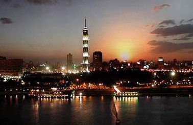 An evening view of the Cairo Tower in Egypt