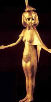 A gilded wooden statue of the goddess, Selket (Selkis)