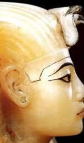 The face from one of the lids that sealed the canopic compartments in King Tutankhamun's canopic chest