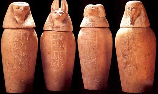 Four Canopic Jars of Prince Hornakht