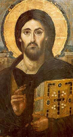 Christ Pantocrator dating to the 6th or 7th century using the encaustic Technique - A icon from the Monastery of St. Catherine in the Sinai of Egypt
