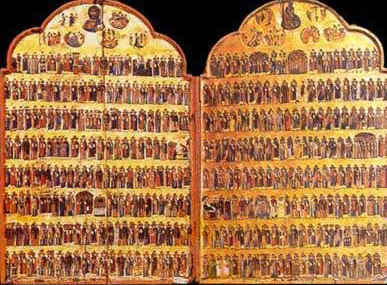 Hagiologion Calendar Icon, a Menologia painting dating to the 13th century - A icon from the Monastery of St. Catherine in the Sinai of Egypt