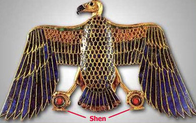 This vulture from the tomb of Tutankhamun holds shen in each claw