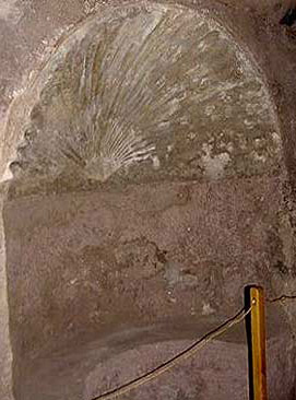 One of the exedrae, a niche within the first level vestibule