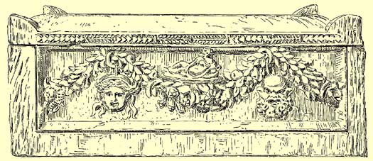 A drawing of the facade of the central sarcophagus