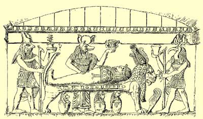 A drawing of the funerary scene on the back wall of the Main Tomb