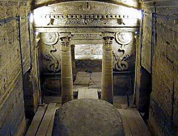 The facade of the Main Tomb in the catacombs