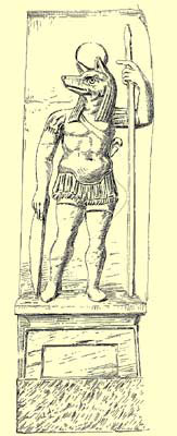 A drawing of the depiction of Anubis on the right of the doorway