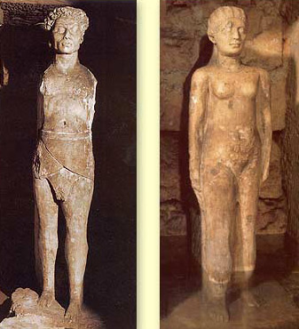 The two statues in the pronaos, slightly smaller than life size