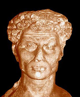 Head of the male statue in the pronaos to the Main Tomb at Kom el-Shugafa
