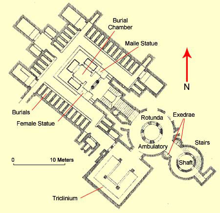 Ground plan of the Catacombs of Kom el-Shuqafa