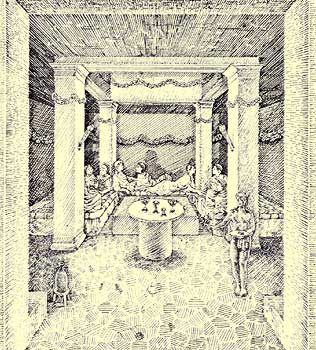 A drawing depicting a banquet within the Triclinium