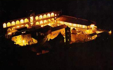 A view of the Moanstery at night