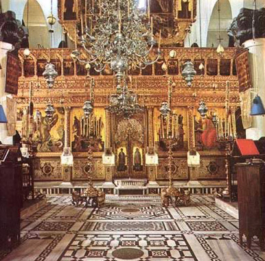 Inside the Katholikon, the main church at the Monastery of St. Catherine
