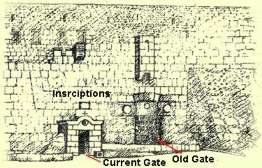 Drawing of the old and current entrance in the walls of the Monastery