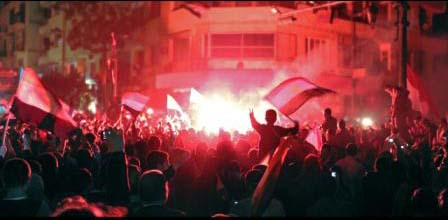 Nighttime celebrations in Tahrir Square, right after the resignation of President Mubarak.
