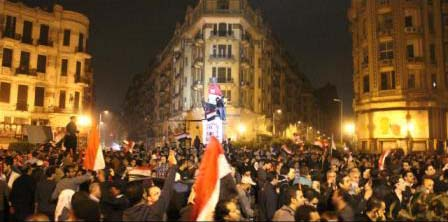Nighttime celebrations in Talaat Harb Square, right after the resignation of President Mubarak.