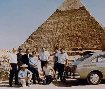 Some of the members of the Joint Pyramid Project, consisting of, from left to right, Luis Alvarez, A. Fawzi, George Aziz, Amr Goneid, Jerry Anderson, Jim Burkhard, Fred Kreiss, Buck Buckingham and Lauren Yazalino