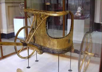 A chariot removed and reassembled from the tomb of Tutankhamun